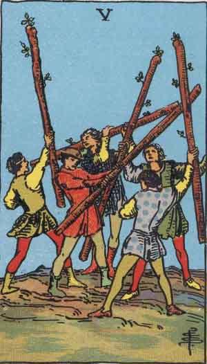Cinque di Bastoni, Arcano Minore dei Tarocchi