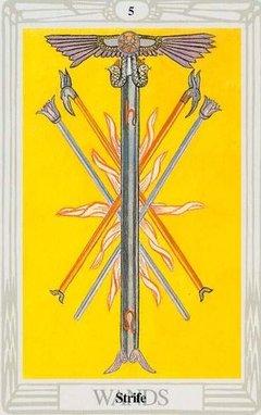 Cinque di Bastoni Tarocchi Crowley Thoth